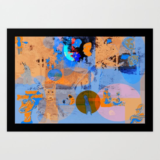 blue and orange  Art Print