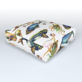 Whales and a Little Squid Outdoor Floor Cushion