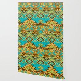 Native Aztec Turquoise Tribal Rug Pattern Wallpaper
