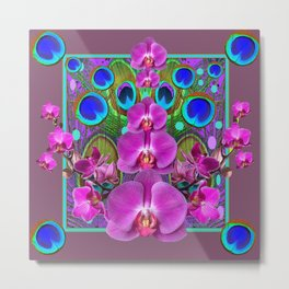 Puce Purple Pink Orchids Blue Peacock Feather Eyes Metal Print