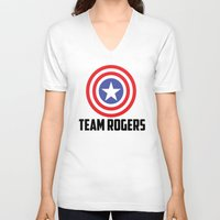 steve rogers V-neck T-shirts featuring Team Rogers by chrismathew_