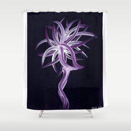 Purple Firecracker against Dark Violet Background Shower Curtain