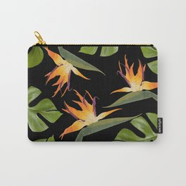 Strelitzia and Monstera black Carry-All Pouch