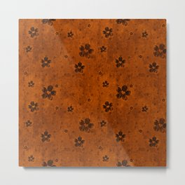 Burnt Orange Grunge Flowers and Hearts Pattern Gift Ideas Metal Print