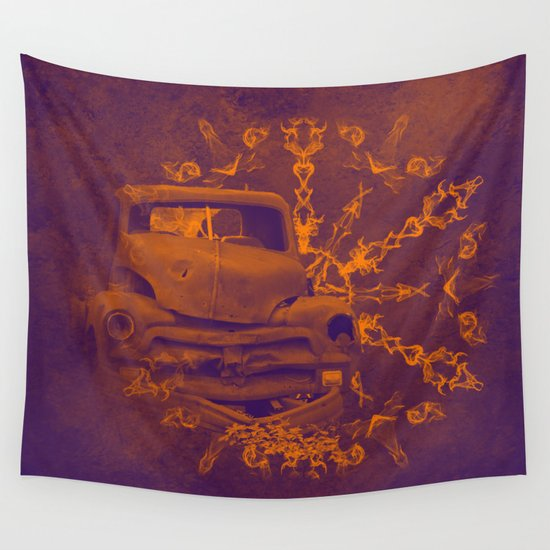 Abstract rusty car in purple and orange Wall Tapestry by ...