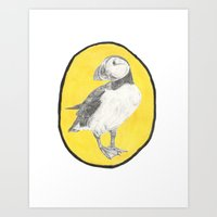 puffin Art Prints featuring Puffin by csmalcolm Illustration