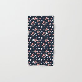 Navy blue cherry blossom finch Hand & Bath Towel