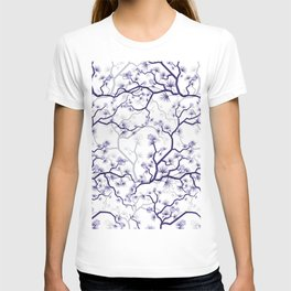 Abstract navy blue gray lavender floral illustration T-shirt