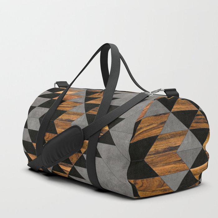Urban Tribal Pattern 10 - Aztec - Concrete and Wood Duffle Bag