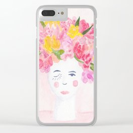 Blooming Betty Watercolor Painting Clear iPhone Case