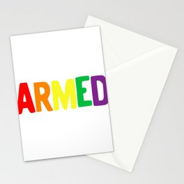 Armed Rainbow Colors Pride Self Defense 2nd Amendment LGBTQ print Stationery Cards
