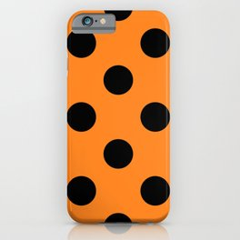 Halloween Black Orange Polka Dot iPhone Case