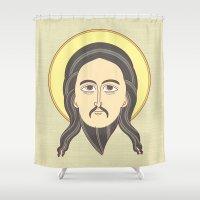jesus Shower Curtains featuring jesus icon by freshinkstain