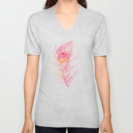 Peacock Feather – Peachy Pink Palette Unisex V-Neck