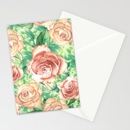 Peach Roses Neck Gator Floral Peach Rose Stationery Cards