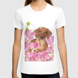 Dog in Field of Lotos Flower T-shirt