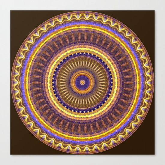 Groovy mandala with waves and tribal patterns in brown, yellow, blue and purple Canvas Print