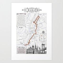 New York City Black & White {marathon course} map 26.2 Art Print