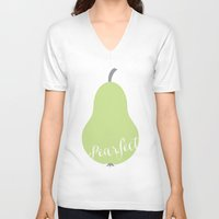 """onesie V-neck T-shirts featuring Pear Green Onesie """"Pearfect"""" by Spilling Beans"""
