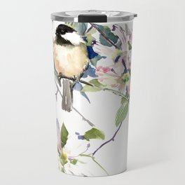 Chickadee and Dogwood Flowers Travel Mug