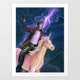 Starlord and a unicorn Art Print