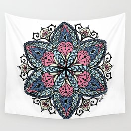 Mandala pink and blue Wall Tapestry