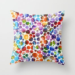 Dots on Painted Background 5 Throw Pillow