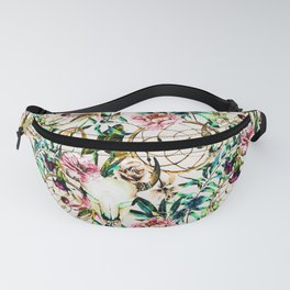 Bohemian Skull Pattern Flowery Vibrant Colors Fanny Pack