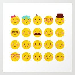 Cheeky Emoji Faces Art Print