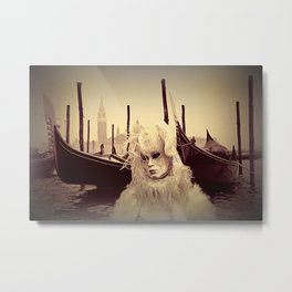 Venice Italy Carnival - Girl in Mask and Gondolas Metal Print