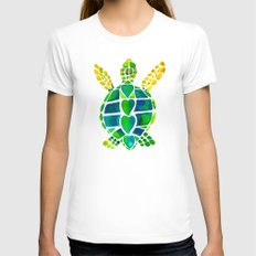 Turtle Love Womens Fitted Tee White SMALL
