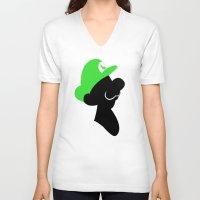 luigi V-neck T-shirts featuring Luigi Bros by Bonitismo