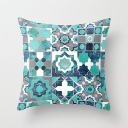 Spanish moroccan tiles inspiration // turquoise green silver lines Throw Pillow
