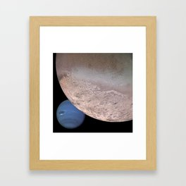 Montage of Neptune and Triton by Spacecraft Voyager 2 Print Framed Art Print