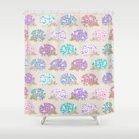polkadot Shower Curtains featuring Hedgehog polkadot by Heleen van Buul
