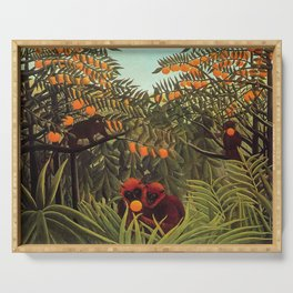 Apes in the Orange Grove by Henri Rousseau 1910 // Colorful Jungle Animal Landscape Scene Serving Tray