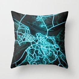 Belgrade, Serbia, Blue, White, Neon, Glow, City, Map Throw Pillow