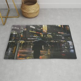 City Lights and Lonely Man in Toronto Street photography Rug