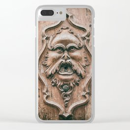 Face with beard carved on ancient door in Pisa Tuscany Italy Clear iPhone Case