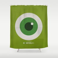 monster inc Shower Curtains featuring Monster, Inc. - Green (Vintage) by Lemontrend Studio