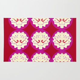 Stamps red pink Geometric art Rug