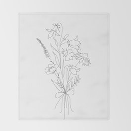 Small Wildflowers Minimalist Line Art Decke