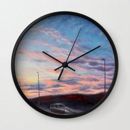 Freeway sunset Wall Clock