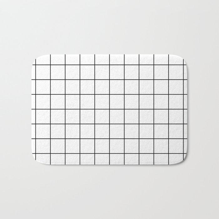 Grid Simple Line White Minimalist Bath Mat