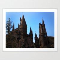 hogwarts Art Prints featuring Hogwarts by Blue Lightning Creative