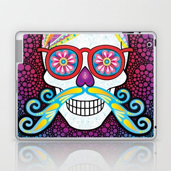 Sugar Skull (Mustachio) Laptop & iPad Skin