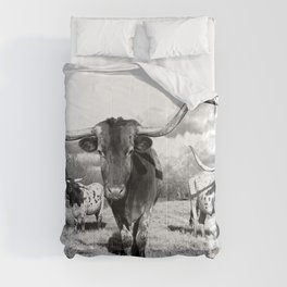 Longhorn Cattle Black and White Highland Cows  Comforters