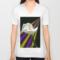 trumpet V-neck T-shirts featuring Trumpet Solo by SwanniePhotoArt