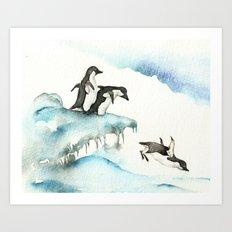 Jumping Penguins - Watercolor Art Print