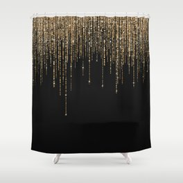 Luxury Chic Black Gold Sparkly Glitter Fringe Shower Curtain